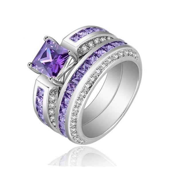 New Purple S925 Princess Cut Cubic Zirconia Wedding Promise Rings