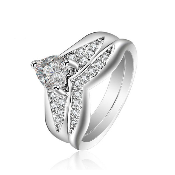 Heart Cut White Cz S925 Sterling Silver Wedding Rings Sets