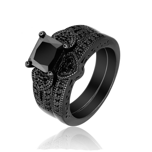 Black Princess Cut Cubic Zirconia Gold Plating Wedding Rings