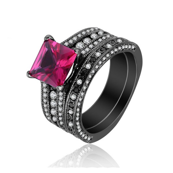 Fuchsia Princess Cut Cubic Zirconia Black Gold Plating S925 Rings