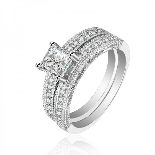 Classic S925 Platinum Palting White Sapphire Cz Wedding Rings