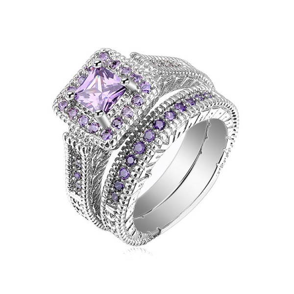 New Design Amethyst Princess Cut Cz Bridal Wedding Sets