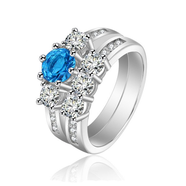 Blue Round Aquamarine Cubic Zirconia S925 Sterling Silver Rings