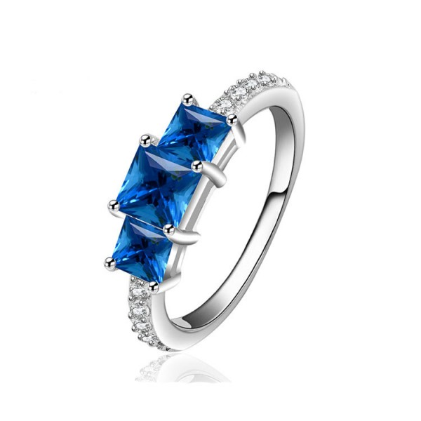 Creative Design Sapphire Princess Cut S925 Sterling Silver Rings