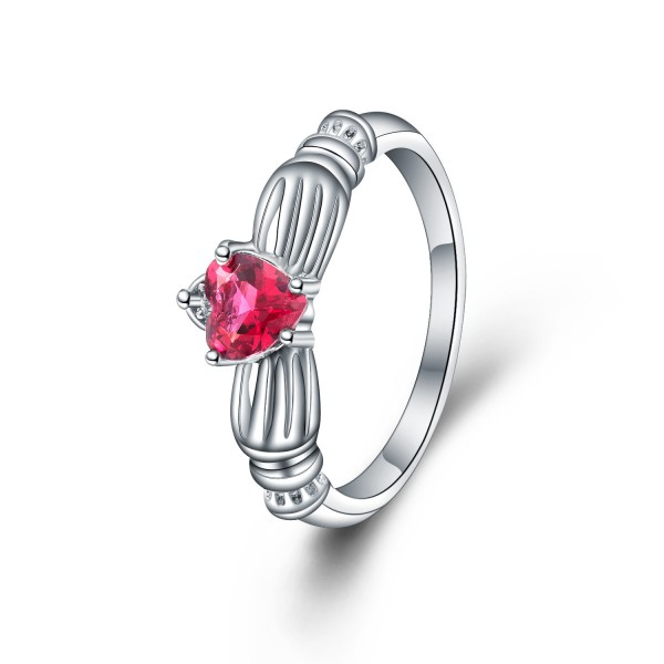 Creative Design Heart Cut Fuchsia Cz S925 Sterling Silver Rings