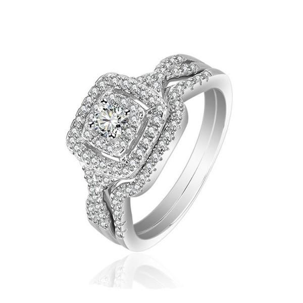 S925 Round White Sapphire Cz Weding Sets