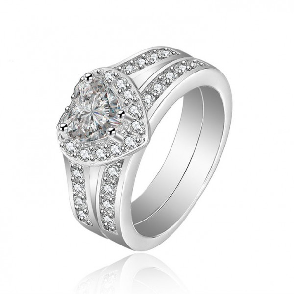 Heat Shaped White Sapphire Cz Wedding White Gold Plating