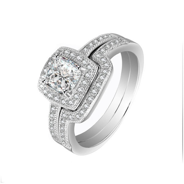Classic S92 Princess Cut White Sapphire Cz Wedding White Gold Plating