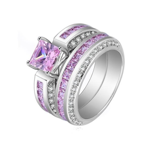 Fashion Design Pink Sapphire Princess Cut Wedding Rings