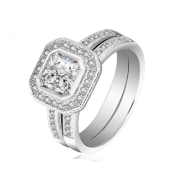 Fashion Design White Sapphire Princess Cut Wedding Rings