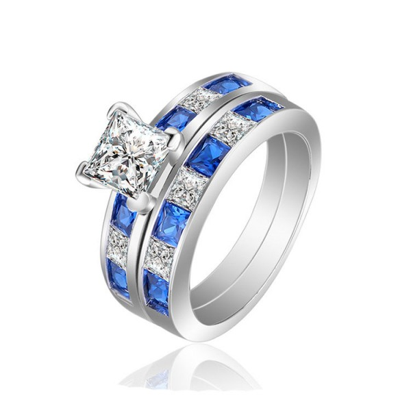Fashion Design White And Blue Princess Cut Wedding Bridal Sets