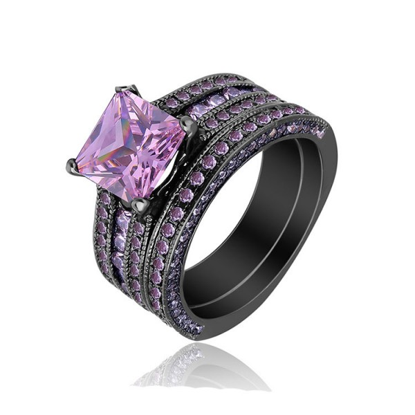 Black Gold Plating S925 Pink Princess Cut Cz 2 Wedding Sets Promise Rings