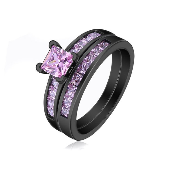 Black Gold Plating S925 Pink Princess Cut Cz Wedding Promise Rings