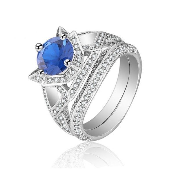 Vogue Blue Cz 925S Flower Design Wedding Promise Rings