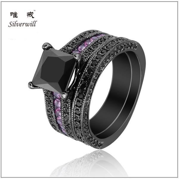 S925 Black Princess Cut Cubic Zirconia Gold Plating Rings