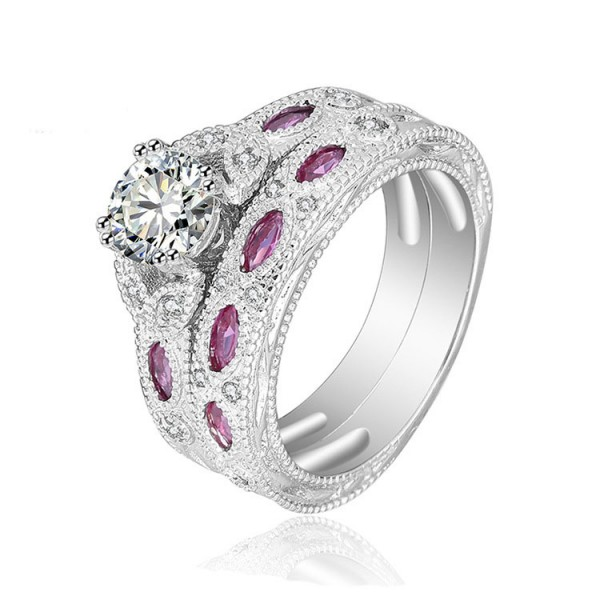S925 Sterling Silver Round White Sapphire Cz Rings Wedding Sets
