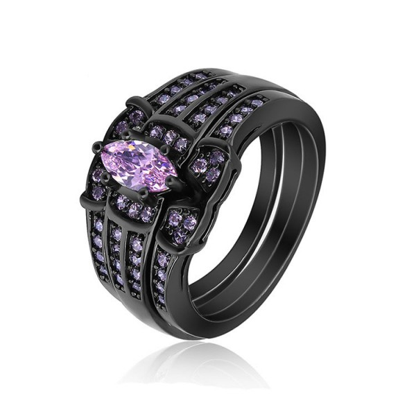 S925 Marquise Pink Sapphire Black Gold Plating Wedding Sets Rings
