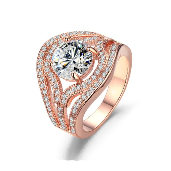 Fashion S925 Sterling Silver Rose Gold Plating Wedding Rings