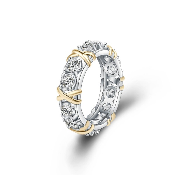 Classic S925 Two Color Tone Cubic Zirconia Wedding Rings