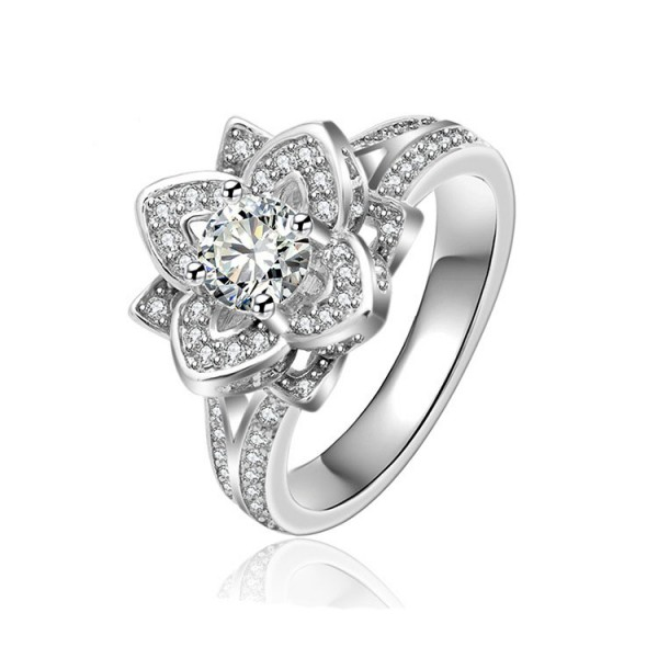 S925 Sterling Silver Platinum Plating Flower Wedding Promise Rings