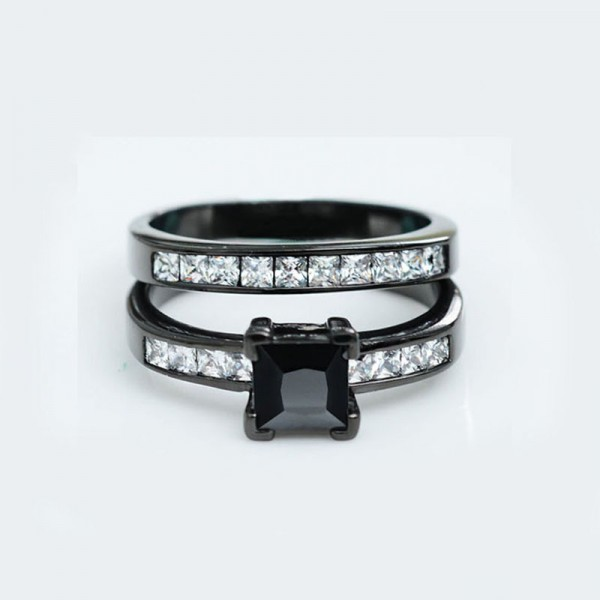 Black Gold Plating S925 Cubic Zirconia Wedding Sets Rings