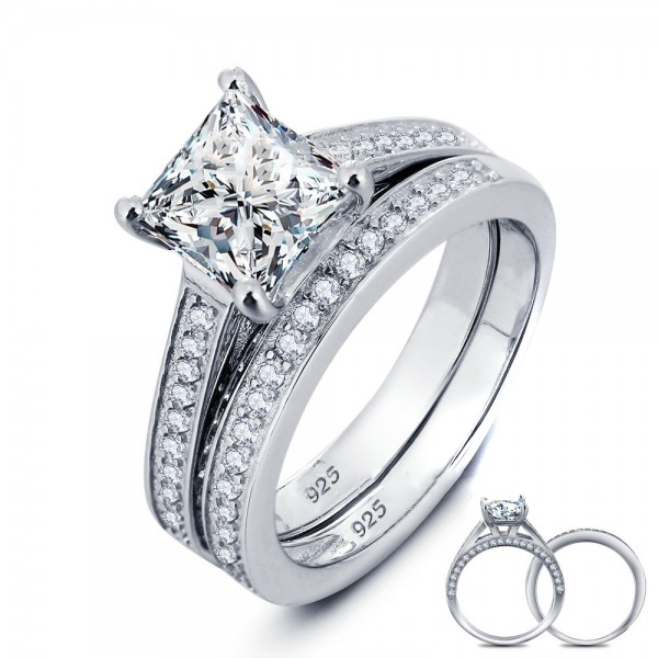 Lovely Radiant Cubic Zirconia S925 Sterling Silver Bridal Ring Set