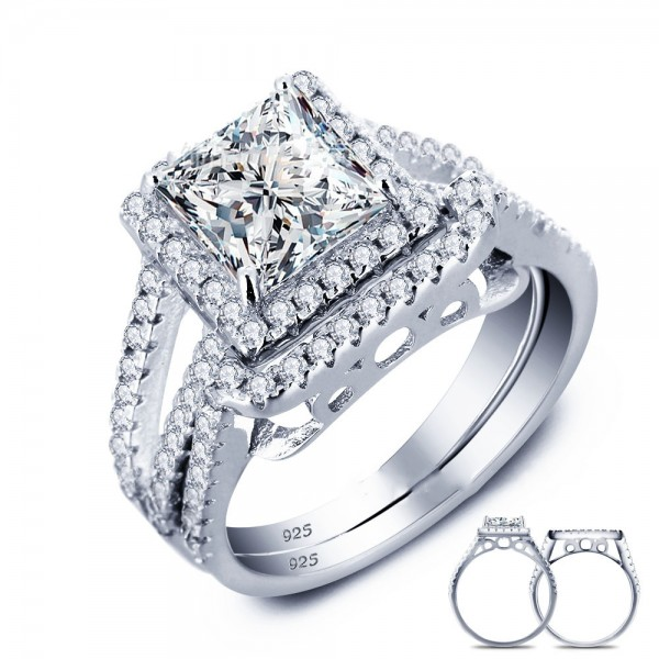Popular S925 Sterling Silver Radiant Cubic Zirconia Wedding Ring Set