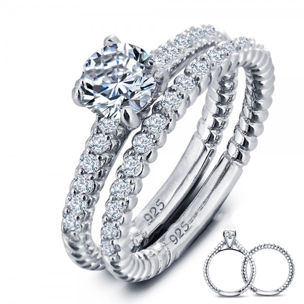 Trendy Round Cubic Zirconia S925 Sterling Silver Bridal Ring Set