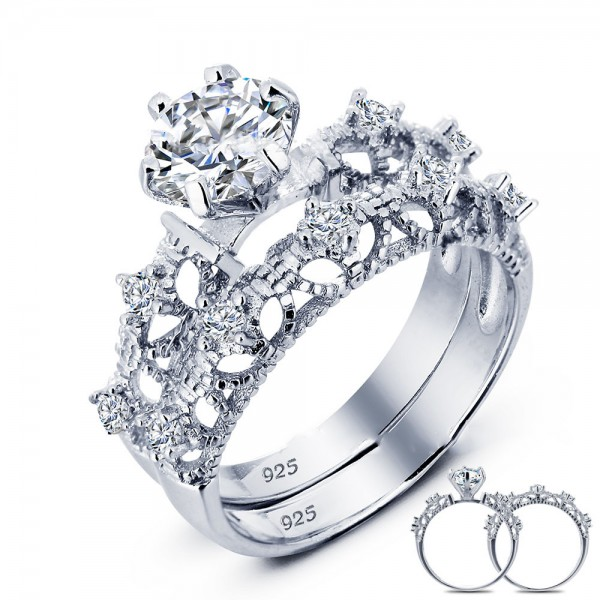 Wondrous S925 Sterling Silver Hollowed Round Cubic Zirconia Bridal Ring Set