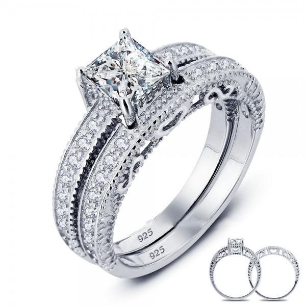 Splendid S925 Sterling Silver Radiant Cubic Zirconia Wedding Ring Set