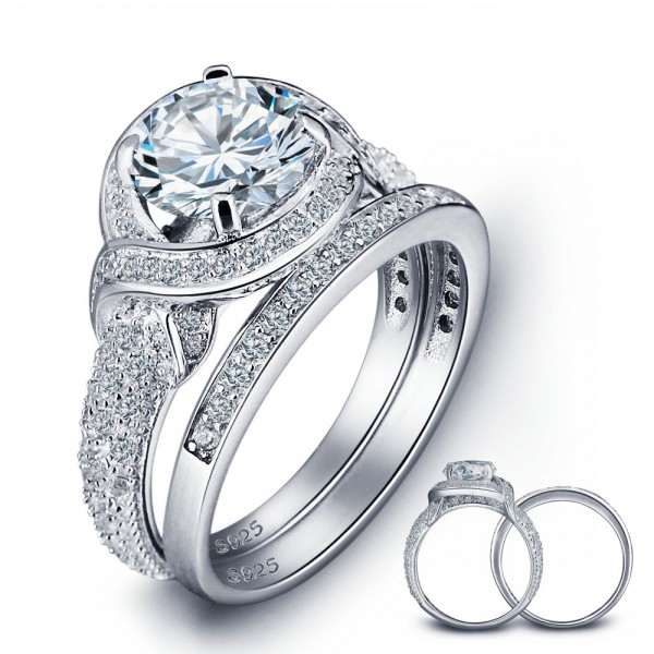 Wonderful Bridal Round Cubic Zirconia S925 Sterling Silver Ring Set