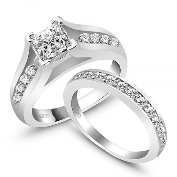 Super S925 Sterling Silver Cubic Zirconia Ring For Girlfriend