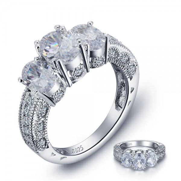 Perfect S925 Sterling Silver Oval 3A Cubic Zirconia Wedding Ring