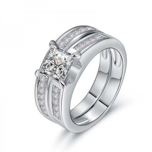 925 Sterling Silver Ring For Women Inlaid Cubic Zirconia Square Design Double Rings Polish Craft Liberality and Decent