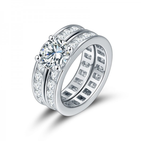 Fabulous S925 Sterling Silver Round Cubic Zirconia Ring Set