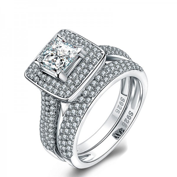 Terrific S925 Sterling Silver Radiant Cubic Zirconia Bridal Ring