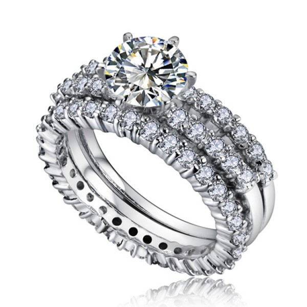 Awesome White Sapphire S925 Sterling Silver Cubic Zirconia Wedding Ring