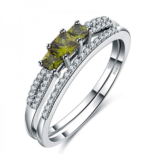 Lovely S925 Sterling Silver Olive Green Cubic Zirconia Ring Set
