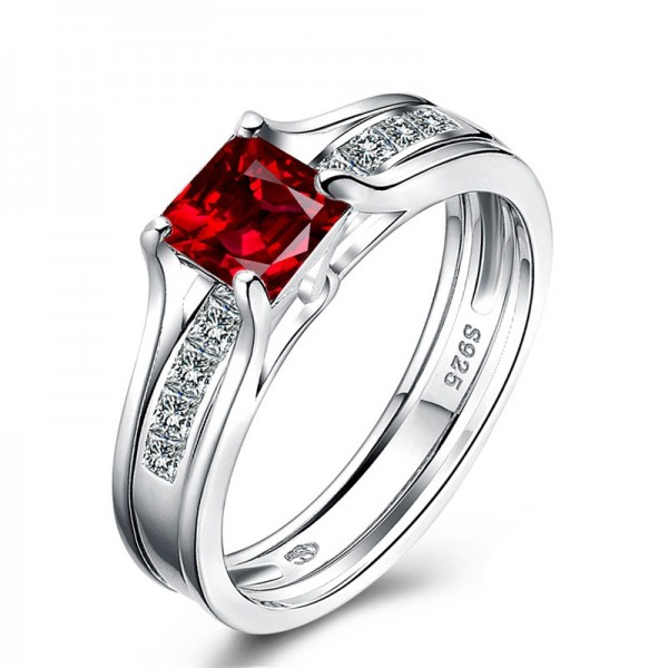 Popular S925 Sterling Silver Ruby Cubic Zirconia Wedding Ring