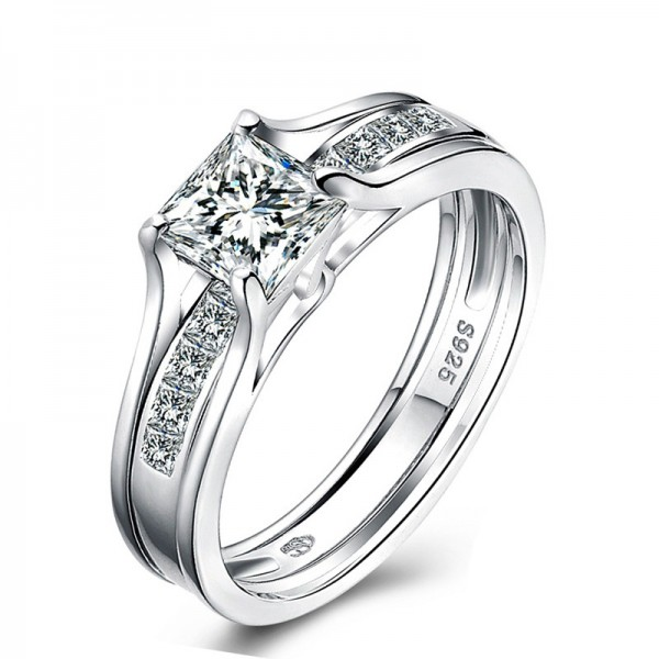 Extraordiary Cubic Zirconia S925 Sterling Silver Wedding Ring Set