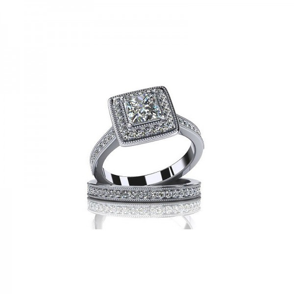925 Sterling Silver Ring For Women Inlaid Cubic Zirconia Square Design Ring Set Polish Craft Luxury and Liberality
