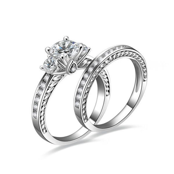 925 Sterling Silver Ring For Women Inlaid Cubic Zirconia Round Diamond Detachable Double Rings Design Decorated by Micro-diamond Exquisite and Liberality Polish Craft
