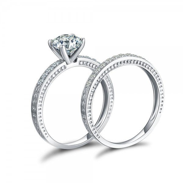 Perfect One Carat Cubic Zirconia S925 Sterling Silver Wedding Ring Set