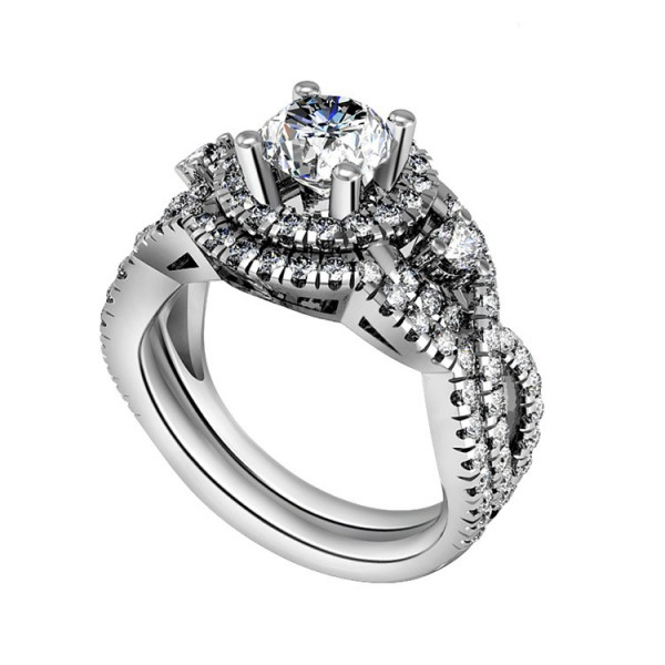 Hot Selling S925 Sterling Silver Round White Sapphire Cubic Zirconia Engagement Ring Set
