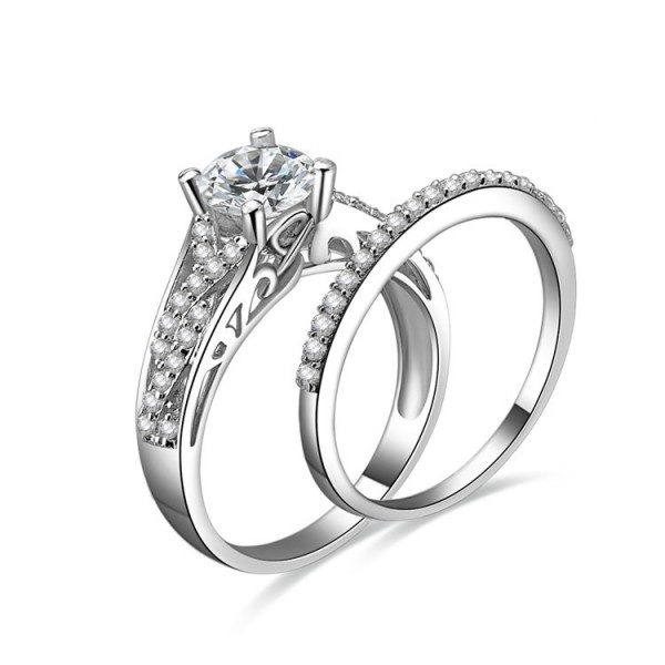 Cool Cubic Zirconia Wedding S925 Sterling Silver Ring Set