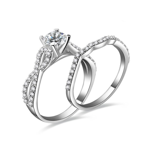 925 Sterling Silver Ring For Women Inlaid Cubic Zirconia Interwined and Double Rings Design Luxury and Liberality Polish Craft