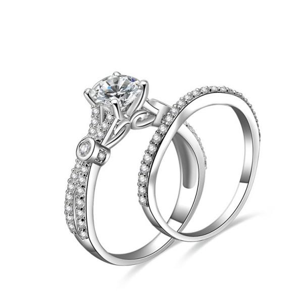 Splendid Round Cubic Zirconia S925 Sterling Silver  Wedding Ring Set