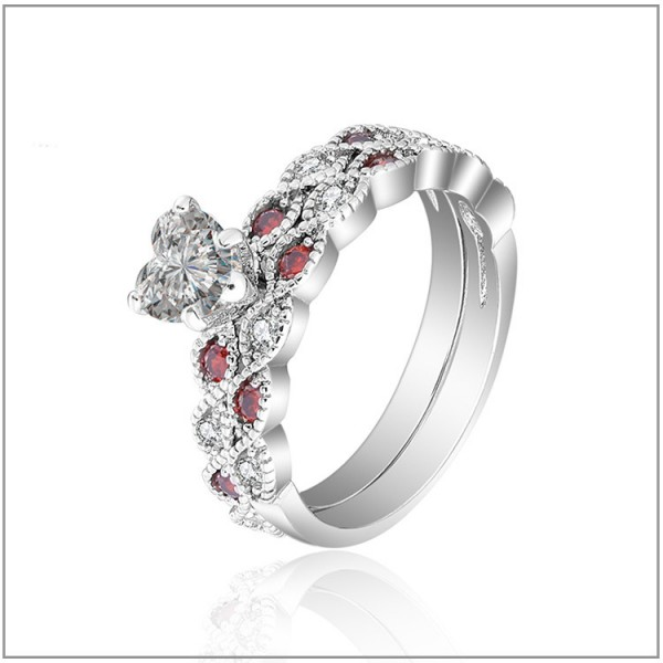 Wonderful S925 Sterling Silver Heart Cubic Zirconia  Bridal Ring Set