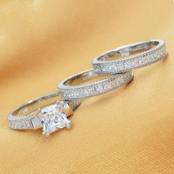 925 Sterling Silver Ring For Women Inlaid Cubic Zirconia Triple Rings Design Plating Platinum Luxury and Liberality
