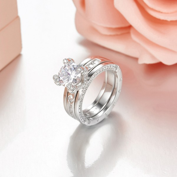 Great Round White Sapphire Cubic Zirconia S925 Sterling Silver  Ring Set